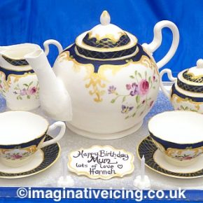 Tea Set & Teapot Cake on a silver tray