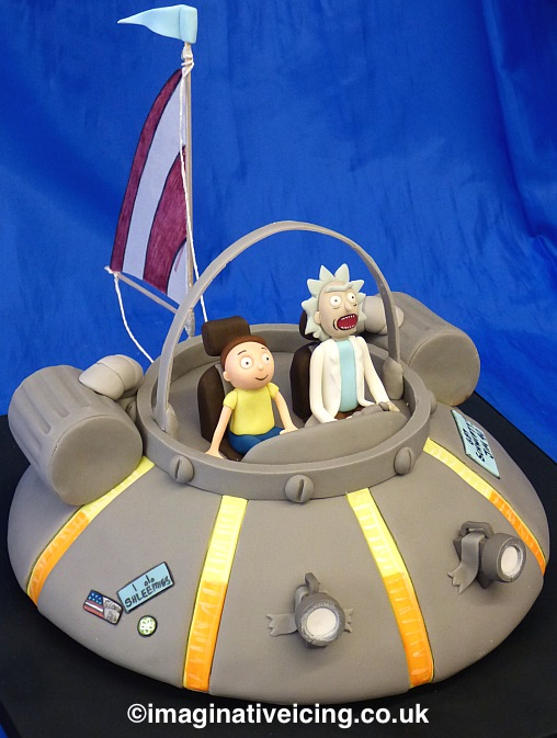 Rick and Morty Spaceship / Flying Car Birthday Cake