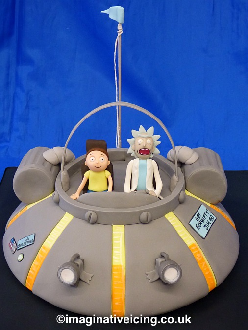 Rick and Morty Spaceship Birthday Cake front view