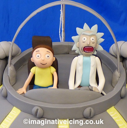 Rick and Morty Spaceship Birthday Cake close up of the icing models