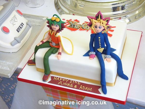Yuya-Sakaki - Swing intoAction! and Yu-Gi-Oh!  - it's time to dual! - Birthday Cake with handmade icing figures