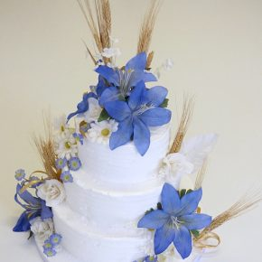 Rural Countryside Rustic Royal iced Wedding Cake - Ears of corn & flowers