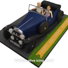 3D Classic Car Cake - 1933 Alvis Firefly - Happy Anniversary Cake.