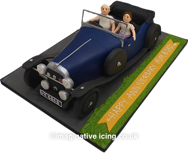 3D Classic Car Cake - 1933 Alvis Firefly - Happy Anniversary Cake.  Yes we can make any car just send us suitable photos to work from, price depends on size and level of detail required.