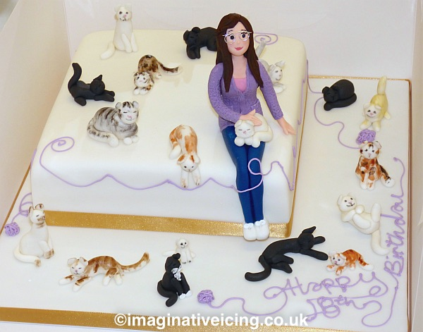 Sensational Cat Lady Birthday Cake Imaginative Icing Cakes Scarborough Funny Birthday Cards Online Fluifree Goldxyz