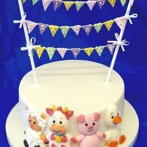 Baby Farm Animals Christening / Naming Day Bunting Cake