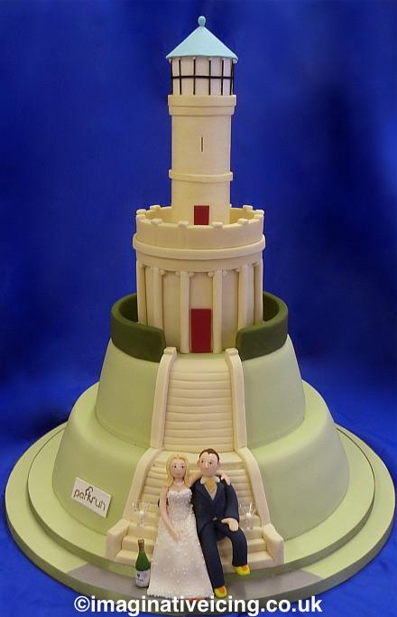 Locke Park Tower Wedding Cake. 3 Tier Cake. Bride & Groom Icing Models.