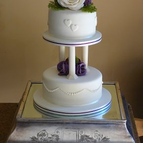 2 tier Mini Wedding Cake on pillars with Sugar Flowers