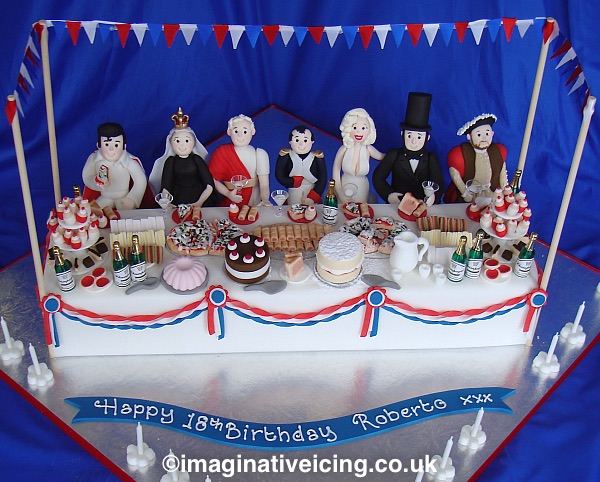 A Birthday Party celebration with the Dead Rich & Famous... This 18 year old invited all his favourite historical dead people to his birthday for tea and cakes :) all the figures, Elvis, Queen Victoria, Julius Caesar, Nepolian, Marilyn Monroe, Abraham Lincoln and King Henry VIII are all made from icing as is all the party food, sausage rolls, pizza, jam tarts, sandwiches, brownies,chocolate eclairs, cupcakes, pork pie, cream cakes, pink blamonge, jug of punch, drinking cups, cake stands and all the cutlery, plates and decorations. if you imagine it we'll try our best to create it... Who are you going to invite to your birthday tea?