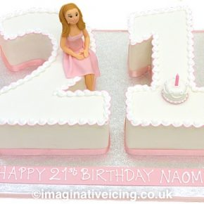 "21st birthday cake numbers - ""Pretty in Pink"""