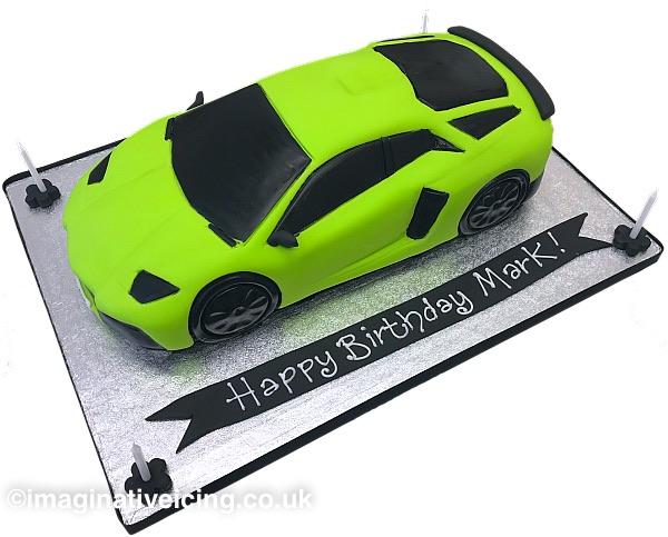 Bright Green Lamborghini Adventador Super Car Birthday Cake