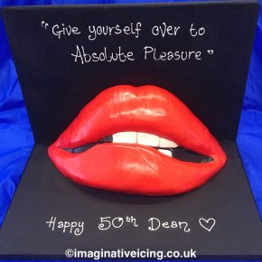 """Give yourself over to absolute pleasure!"" - Rocky Horror Picture Show Red Lips Cake."