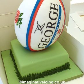 3D Rugby Ball Birthday Cake